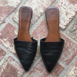 Zara Slip On Pointed Toe Flat Sandals